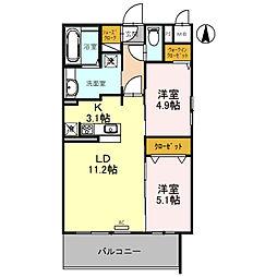 (仮)D-room旭ケ丘町 4階2LDKの間取り