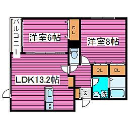 北海道札幌市北区篠路一条4丁目の賃貸アパートの間取り