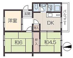 姫路市川団地[4階]の間取り