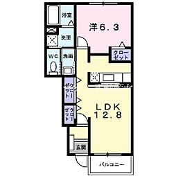 JR津山線 玉柏駅 徒歩21分の賃貸アパート 1階1LDKの間取り