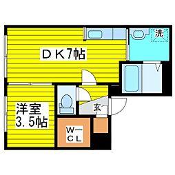 札幌市営東豊線 東区役所前駅 徒歩9分の賃貸マンション 1階1DKの間取り