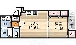 阪急宝塚本線 蛍池駅 徒歩9分の賃貸アパート 2階1LDKの間取り