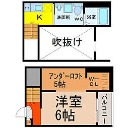 愛知県名古屋市瑞穂区新開町の賃貸アパートの間取り