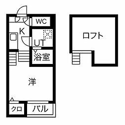名古屋市営鶴舞線 川名駅 徒歩9分の賃貸アパート 2階1SKの間取り