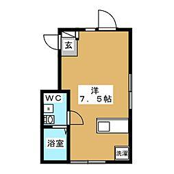 ウィング糀谷 1階ワンルームの間取り