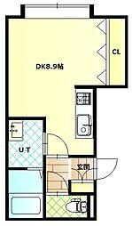 深堀町新築アパートA棟 2階ワンルームの間取り