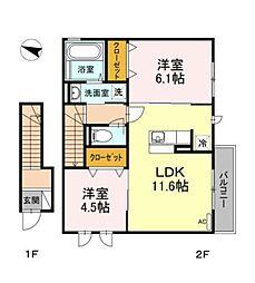 D-room亀井野2丁目[2階]の間取り