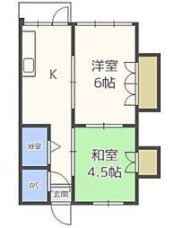 西中洲アパート[2階]の間取り