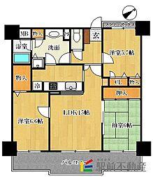 グランピアマンション津福[5階]の間取り