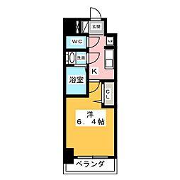 アステリ鶴舞トゥリア 2階1Kの間取り