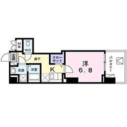 都営新宿線 菊川駅 徒歩6分の賃貸マンション 3階1Kの間取り