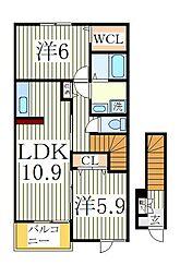 ファミールヒルズII[2階]の間取り