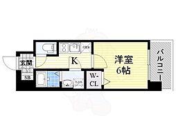 レジュールアッシュ京橋 11階1Kの間取り
