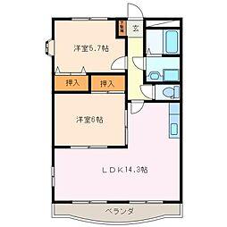 三重県松阪市塚本町の賃貸マンションの間取り