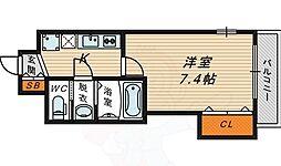 Luxe鶴見 2階1Kの間取り