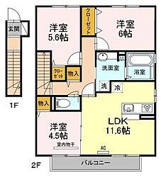 広島県尾道市向島町の賃貸アパートの間取り