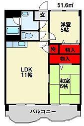 JR鹿児島本線 遠賀川駅 4.8kmの賃貸マンション 1階2LDKの間取り