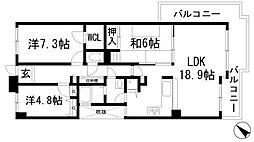 アジュール宝塚南口[4階]の間取り