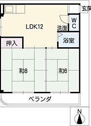 緑地園マンション[3階]の間取り