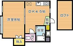 福岡県北九州市八幡西区南鷹見町の賃貸アパートの間取り