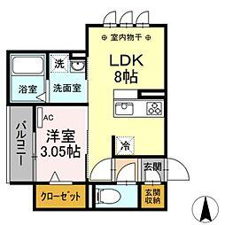 JR東海道本線 岐阜駅 徒歩9分の賃貸アパート 3階1DKの間取り