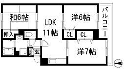 北仁川シティハイツ[2階]の間取り