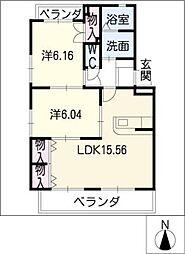 BEE LINE O[2階]の間取り