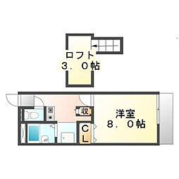 広島県福山市山手町7の賃貸アパートの間取り