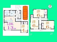 B号地の建物参考プランです。全室が洋室の4LDKの間取り、1階洋室は客間としても使えそうです