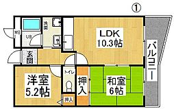 メゾンドボヌール[2階]の間取り