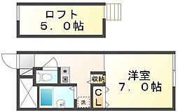 香川県高松市田村町の賃貸アパートの間取り