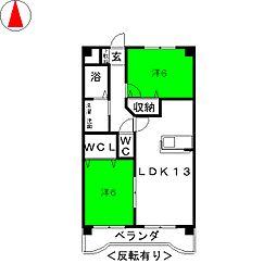 プレジール奥田[3階]の間取り