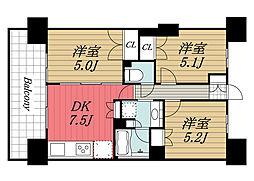 JR京葉線 検見川浜駅 徒歩12分の賃貸マンション 2階3DKの間取り