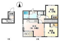 JR姫新線 余部駅 徒歩15分の賃貸アパート 2階2DKの間取り