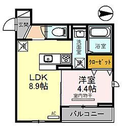 南海高野線 金剛駅 徒歩4分の賃貸アパート 3階1LDKの間取り