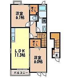 メゾンボヌール B 2階2LDKの間取り