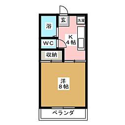 植木ハイツA[2階]の間取り