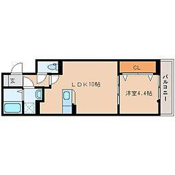近鉄天理線 天理駅 徒歩5分の賃貸アパート 2階1LDKの間取り