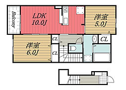京成本線 公津の杜駅 徒歩28分の賃貸アパート 2階2LDKの間取り