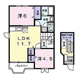 群馬県伊勢崎市富塚町の賃貸アパートの間取り