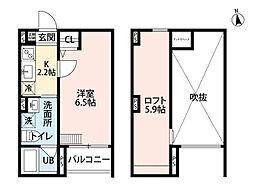 兵庫県尼崎市長洲東通3の賃貸アパートの間取り
