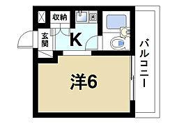 ふじやマンション 4階ワンルームの間取り
