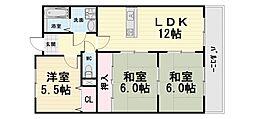 大阪府高石市東羽衣6丁目の賃貸マンションの間取り