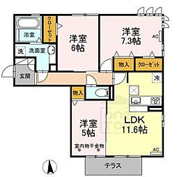 D-room新木曽川[2階]の間取り