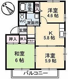 ジェネス飯田 A棟[0202号室]の間取り