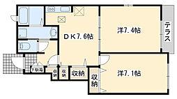 JR阪和線 熊取駅 徒歩36分の賃貸アパート 1階2DKの間取り