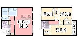 クラヴィエ南町坪[B3号室]の間取り