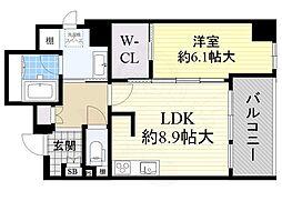 JR東海道・山陽本線 千里丘駅 徒歩5分の賃貸マンション 4階1LDKの間取り