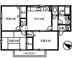 広島県広島市安佐南区川内3丁目の賃貸アパートの間取り