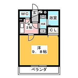 愛知県岡崎市大平町字中道丁目の賃貸アパートの間取り